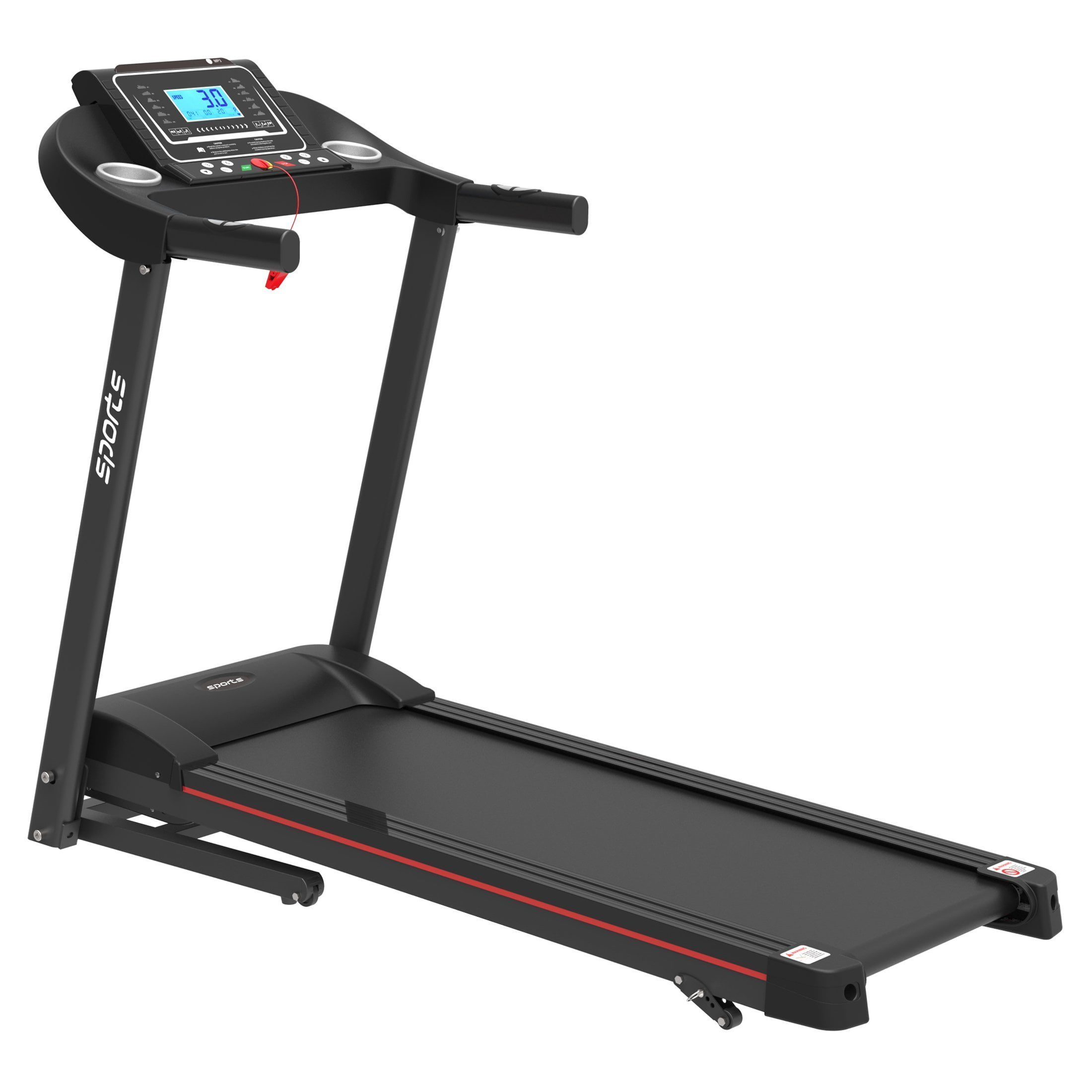 """Smart Motorized Treadmill with Manual Incline and Air Spring & MP3, 5"""" LCD Display"""