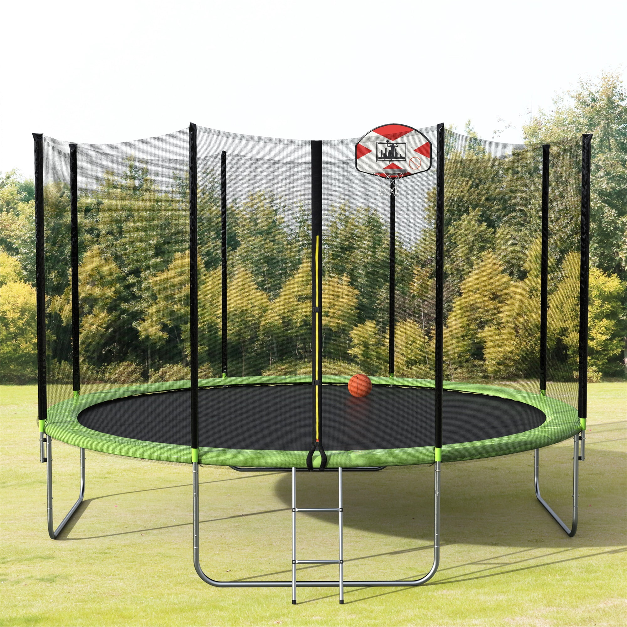 14-Feet Round Trampoline with Safety Enclosure, Basketball Hoop and Ladder