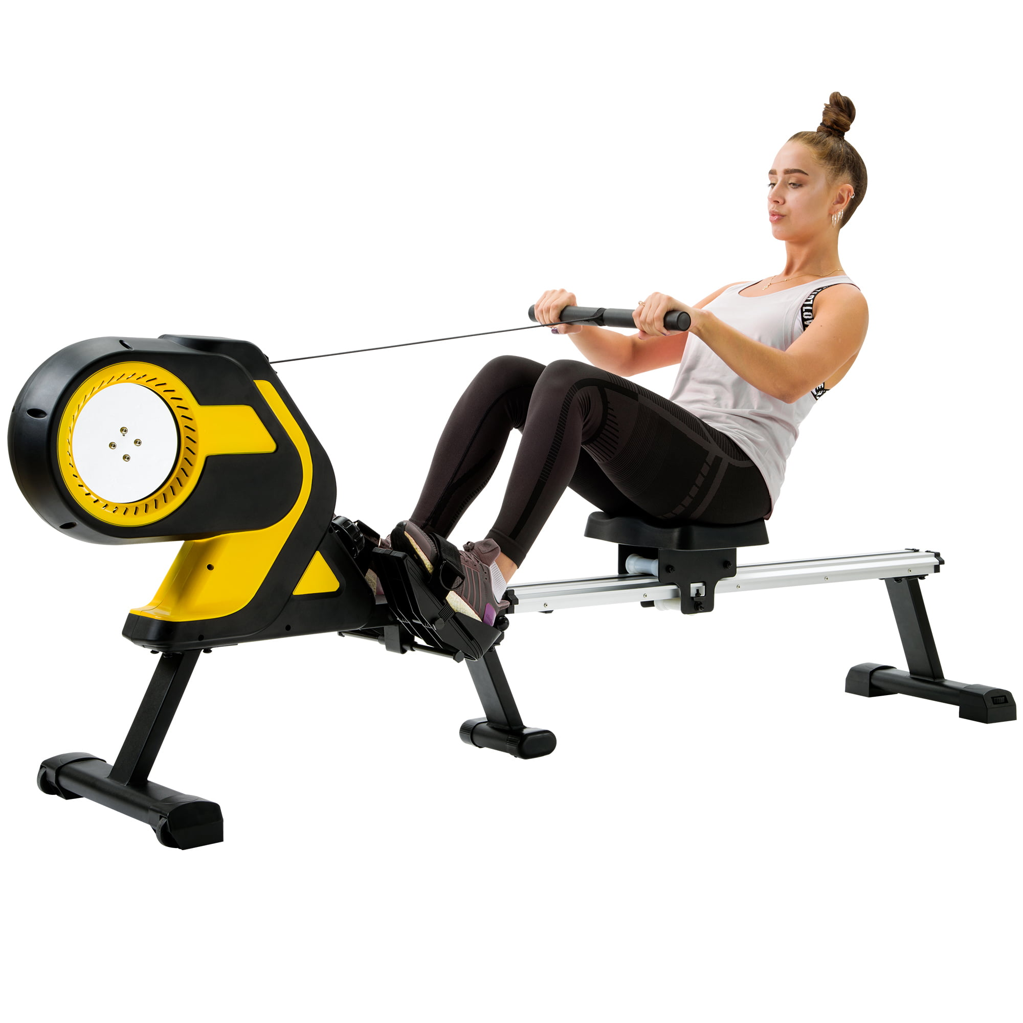 """Magnetic Rowing Machine with LCD Monitor, 46"""" Slide Rail, Compact Folding Rower"""