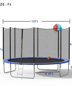 12FT Round Trampoline with Safety Enclosure Net &Ladder, Spring Cover Padding