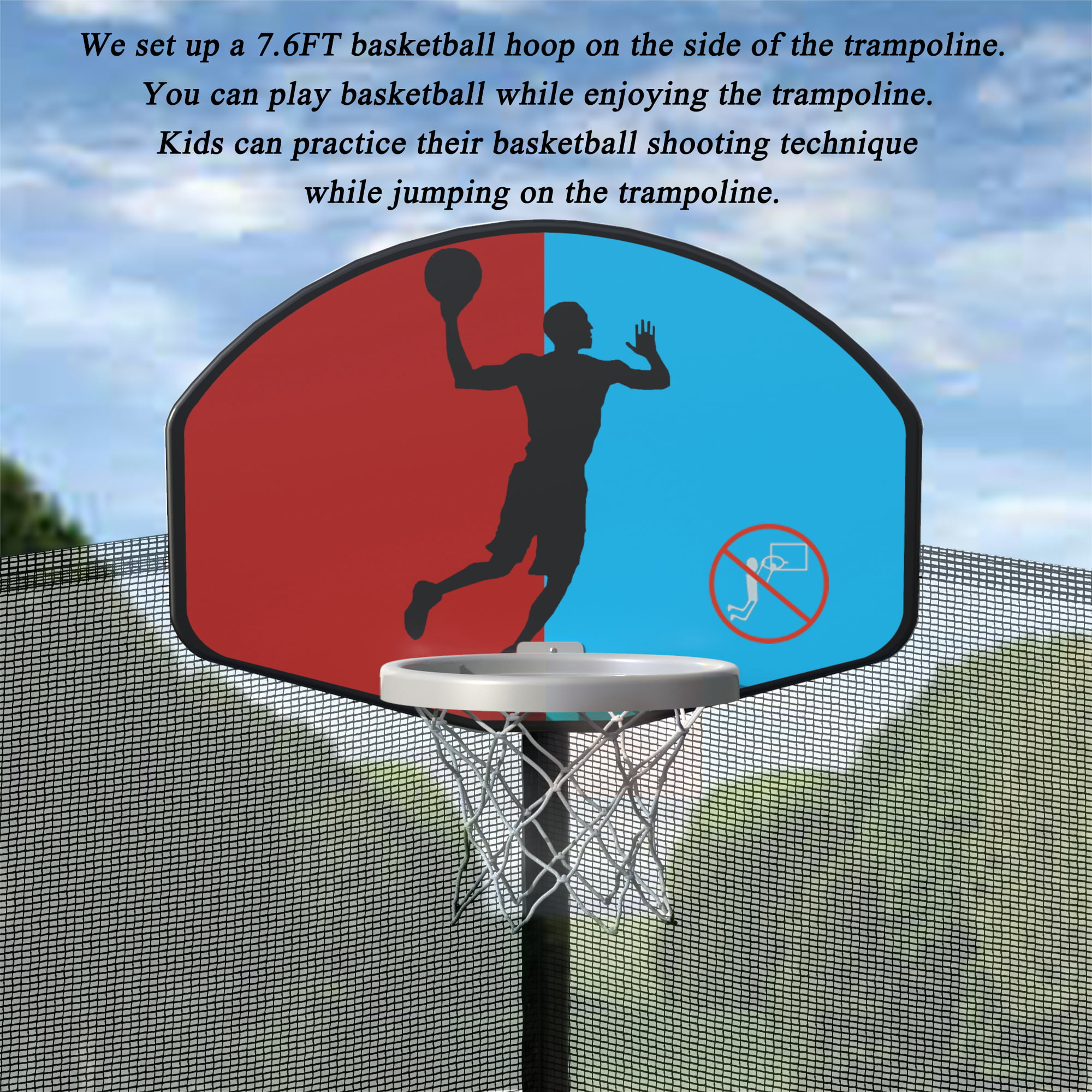 15FT Round Trampoline With Safety Enclosure, Basketball Hoop And Ladder