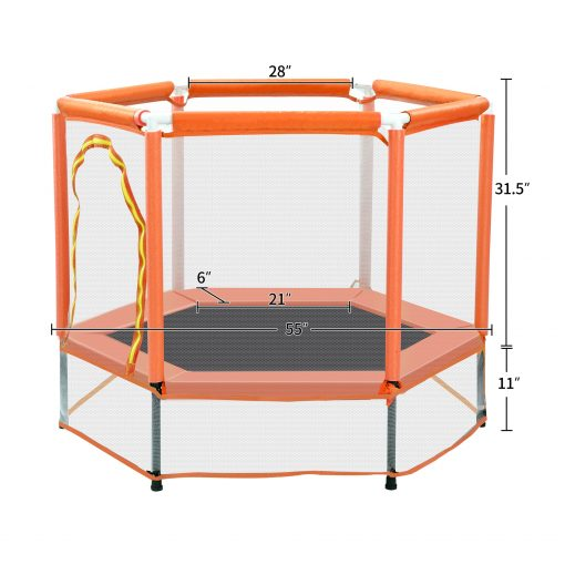 55-inch Toddlers Trampoline with Safety Enclosure Net and Balls, Indoor Outdoor