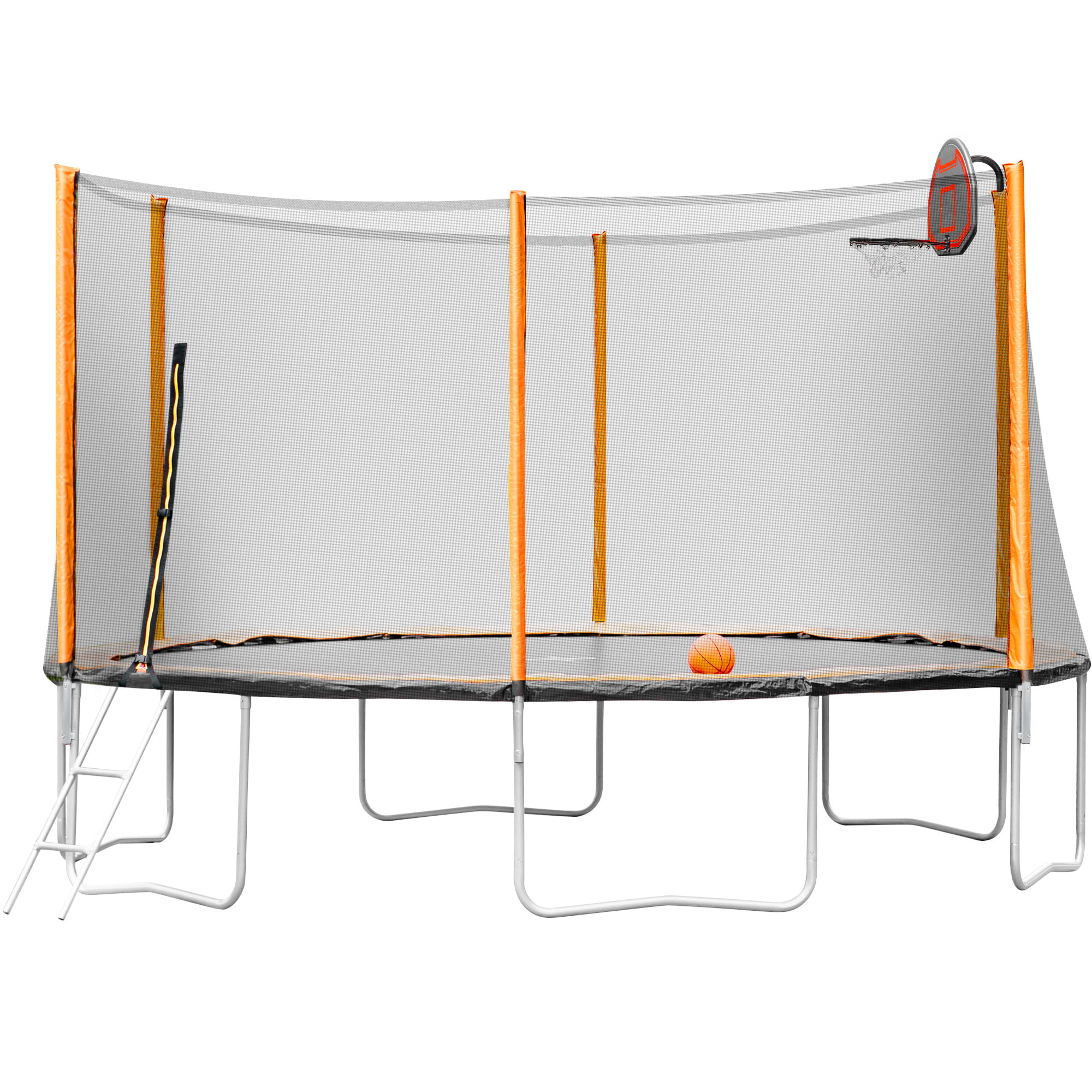 14FT Outdoor Garden Powder-Coated Trampoline With Basketball Hoop, Ladder And Enclosure