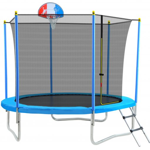 8FT Trampoline For Kids With Safety Enclosure Net, Basketball Hoop And Ladder