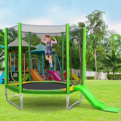 7FT Trampoline For Kids With Safety Enclosure Net, Slide And Ladder