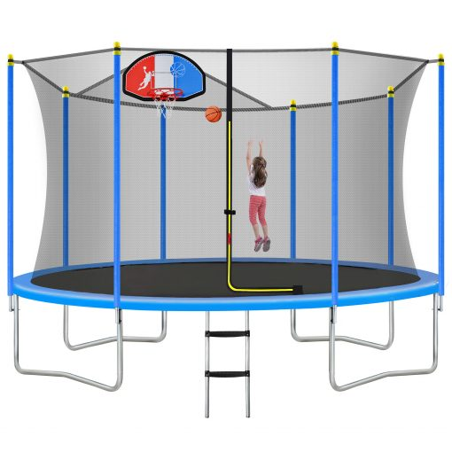 14ft Trampoline For Kids With Safety Enclosure Net, Basketball Hoop And Ladder