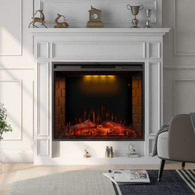 30 Inch LED Recessed Electric Fireplace