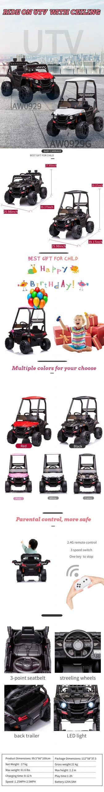 Parent Remote Control, Ride-On UTV with ceiling