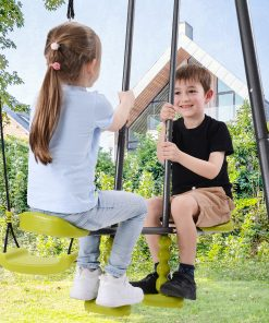3 In 1 Metal Swing Set For Backyard, Heavy Duty A-frame, Height Adjustment