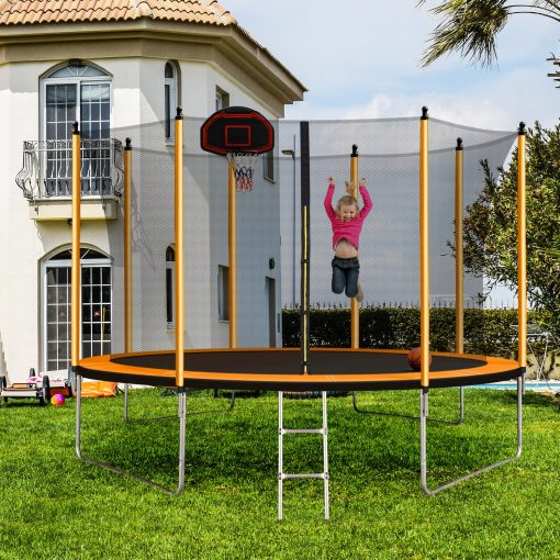 10ft Trampoline with Inner Safety Enclosure Net and Basketball Hoop