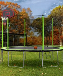14ft Trampoline with Inner Safety Enclosure Net and Basketball Hoop