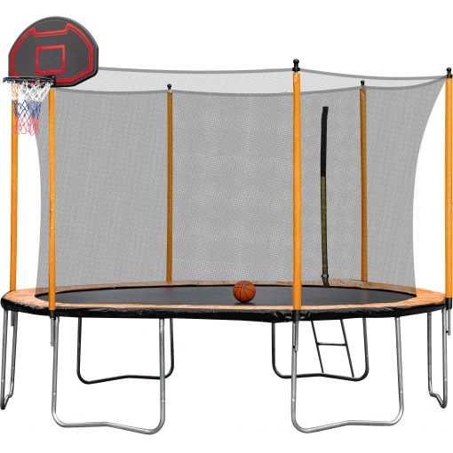 15ft Trampoline with Inner Safety Enclosure Net and Basketball Hoop