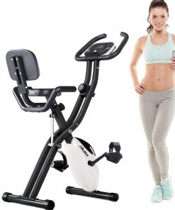 Folding Exercise Bike With 10-Level Adjustable Resistance and Backrest