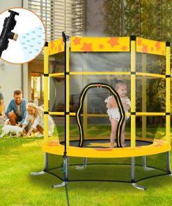 55 Inch Kids Trampoline With Safety Enclosure Net