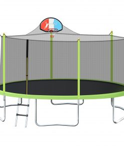 16FT Trampoline for Kids with Safety Enclosure Net, Basketball Hoop and Ladder