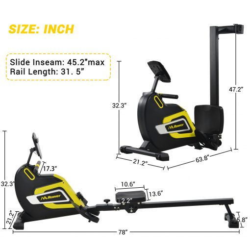 Magnetic Rowing Machine Folding Rower With 14 Level Resistance Adjustable, Lcd Monitor And Tablet Holder For Foldable Rower Home Gym Cardio Workout