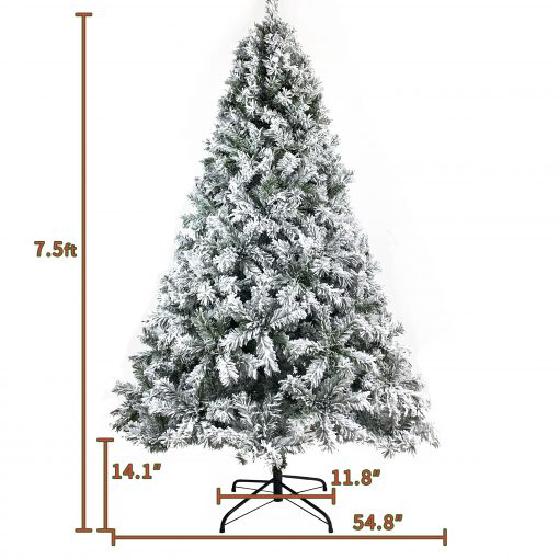 7.5FT Pre-lit Artificial Christmas Tree, Snow Flocked