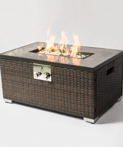 "32"" Rectangular Rattan Fire Pit Table"